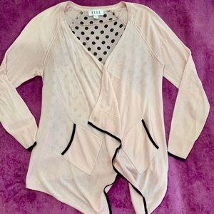Elle Women's Pink Polka Dot Cardigan Sweater XS